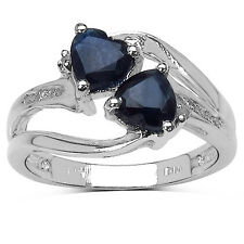 STERLING SILVER  TWIN HEART SAPPHIRE & DIAMOND RING SIZE JO MOTHERS DAY GIFT