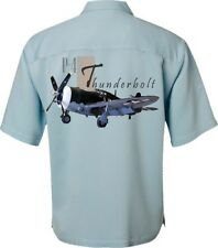 Men's airplane Shirt- P-47 Thunderbolt-World War II-Hawaiian Aviation Shirt-Blue