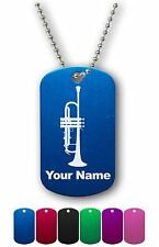 Personalized Military ID Dog Tag with Chain - TRUMPET, MUSICAL INSTRUMENT, MUSIC