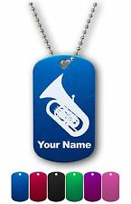 Personalized Military ID Dog Tag with Chain - TUBA, MUSICAL INSTRUMENT, MUSIC