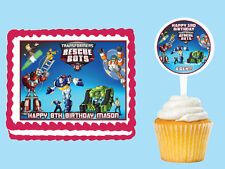TRANSFORMERS RESCUE BOTS  Edible Birthday Party Cake Topper Cupcake Image Party