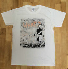 Banksy Boy Painting Brush What? Graffiti Street Art Mens White- Graphic T-shirt