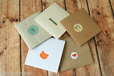 5pc eco friendly recycled shabby chic kraft No Glue CD ENVELOPES Wedding Favour