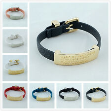 2014 Hot Marc by M Jacobs Iron card  PU Leather Bangle Bracelet 10colors #B334X