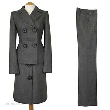 NEXT GREY 3 PIECE TROUSER SKIRT SUIT  SIZE 8 10 WOOL TWEED 40S STYLE WOMEN LADIE