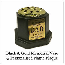 Black Memorial Cemetery Vase, Gold Pot & Plaque -Choice of Text Dad Mum Nan etc
