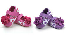 New Baby Girls Infant Toddler Soft Sole Flower Dots Mary Jane Shoes 0-18 Months