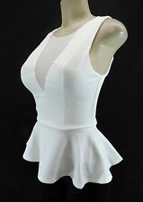 BEBE Peplum Cut Out Mesh Tank Top Fitted Bodycon Off White Ivory XS S M L XL