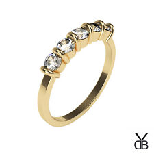 5 Stone Round Moissanite 18k Yellow Gold Engagement Ring ≈ 1.15ct Diamond
