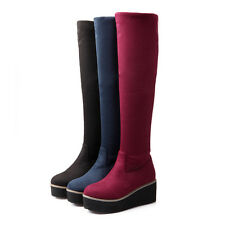 Womens Platform Creeper Pull On Riding Snow Winter Knee High Boots Shoes Plus Sz