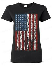 American Flag vintage WOMAN T-SHIRT distressed USA flag  American Patriotism tee