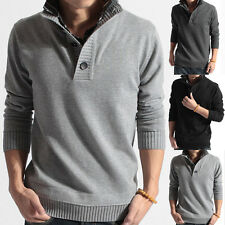 Mens New Stylish Sweaters Jumpers Slim Fit Splice Casual Warm Stand Collar Youth