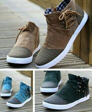 NEW Mens Canvas Casual Lace Slip On Loafer Shoes Moccasins Driving Shoes -S1943