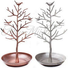 Retro Bird Tree Jewelry Earrings Ring Stand Holder Show Rack Necklace Display Y