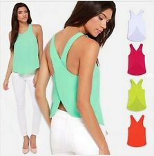 Women Candy Color Casual Shirt Sexy Backless Strap Cross Chiffon Blouse Tops BN