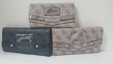 Guess Eloise Taupe Brown, Black Checkbook Wallet Clutch NWT Large, Medium