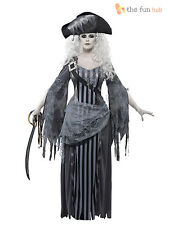 Ladies Ghost Zombie Pirate Costume Womens Halloween Fancy Dress Outfit Size 8-18