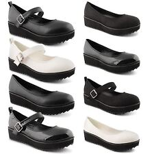 Ladies Chunky Mid Heel Platform Flatform Mary Jane High Womens Shoes Size