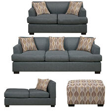 Sectional Sofa or Sofa Loveseat Reversible chaise cocktail ottoman Set Blue Grey