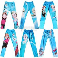 Girls Frozen Princess Anna Elsa Skinny Leggings Pencil Tights Pants Trousers