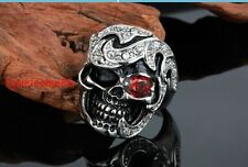 men's jewelry stainless steel silver scull face crystal eye rolling ring 8-12US