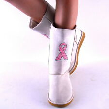 New Womens Beige with Pink Rhinestud Cancer Ribbon Winter Boots