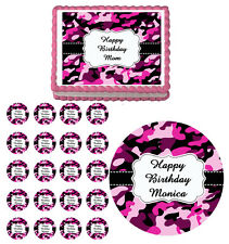 PINK CAMOUFLAGE CAMO Edible Birthday Party Cake Topper Cupcake Image Decoration