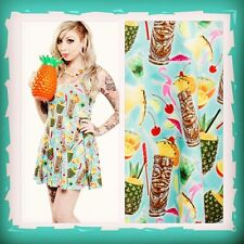 Sourpuss Tiki Cocktail Dress - Rockabilly, Tropical, Pineapple, Flamingo, Kitsch