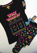 Primark Ladies SPACE INVADERS Retro Video Game T Shirt Leggings Pyjama Set