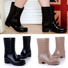 Women's rainboots Water boots shoes Rivet fashion In-tube rubber shoes XP0004