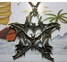 Restore ancient ways pentagram bats sweater pendant necklace 2 color