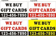 3ftX5ft Custom Printed WE BUY GIFT CARDS Banner Sign with Your Phone Number