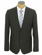 NEW Mens Hugo Boss Charcoal Gray Check Super 100 Wool Suit