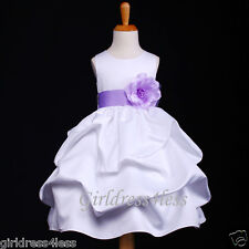 WHITE/LILAC EASTER PICTURE PICK UP FLOWER GIRL DRESS 6M 12M 18M 2 4 6 8 10 12