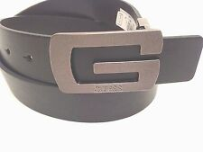GUESS Men's Belt Reversible Black-Brown w/ G Dark Grey Buckle Sz 36 38 40  New