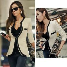 Fashion Womens Coat Slim Ladies Blazer New One Button Jacket Suit White Black