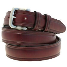 Men's 1 1/4 Domed Belt Burgundy Latigo Leather Brushed Nickel Buckle Made In USA