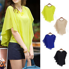 Sexy Womens Chiffon Tops Crew Neck Loose Blouse Short Sleeve Casual T-Shirt