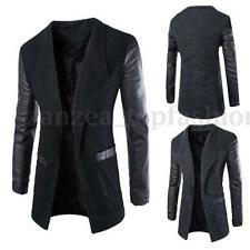 Mens Slim Fit Casual Faux Leather Sleeve Blazer Coat Jacket Top Cardigan Outwear