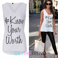 Womens #Know Your Worth Celeb Inspired Statement Vest Top V neck Tshirt 8 - 14