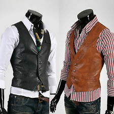 UYUK Men's Casual Slim Vest PU Leather Size Middle-XL