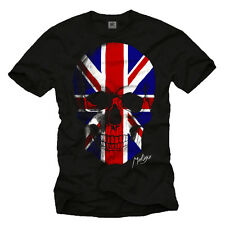 UK SKULL MEN'S T-SHIRT UNION JACK FLAG GREAT BRITAIN TEE SHIRTS ENGLAND FOOTBALL