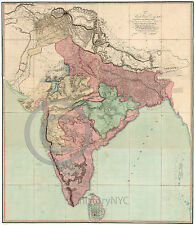 1804 Large Very Detailed Historical Map of India