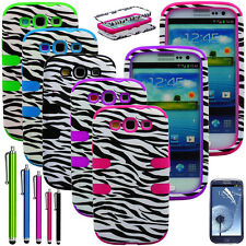 Zebra Hybrid Rubber Matte Hard Case Cover For Samsung Galaxy S3 S III i9300 Film