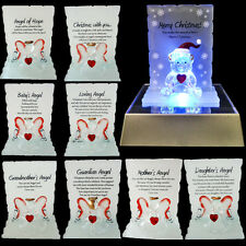 NEW GLASS CRYSTAL ORNAMENTS ANGEL GIFT SET POEM POETIC WRITING MESSAGE BEAR NEW
