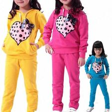 2PC Baby Kids Girl Heart Printed Long Sleeve Hoodie Tops+Pants Outfit Sets 5-9Y
