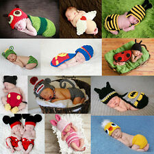 Baby Girls Boy 3-24M Animal Knit Crochet Clothes Photo Prop Hat Cap Outfits Set