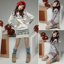 Christmas Deer Snow Pattern Round Neck Knit Dress Bottom Top Sweater
