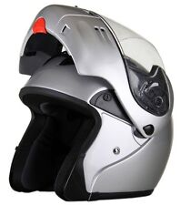 MODS - DOT Full Face SILVER Modular Motorcycle Full Face Helmet