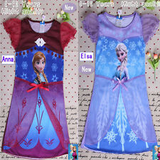 Girl Elsa Frozen Queen Dress 4-12Y Cosplay Costume Pajama Sleepwear Nightgown Y